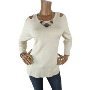 CHELSEA & THEODORE NWT $68 Cut Out Sweater Beige